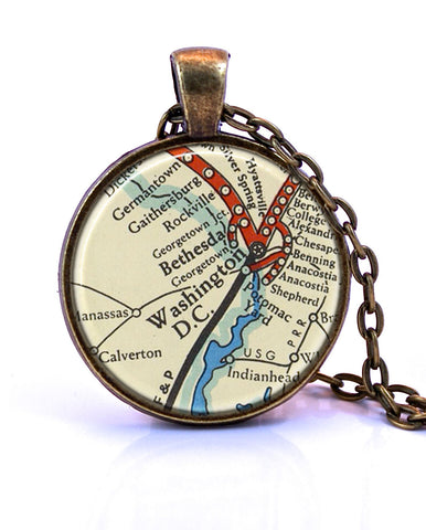 Washington DC Map Pendant Necklace -created from a 1958 (version B) map.-Small Pendant-Paper Towns Vintage