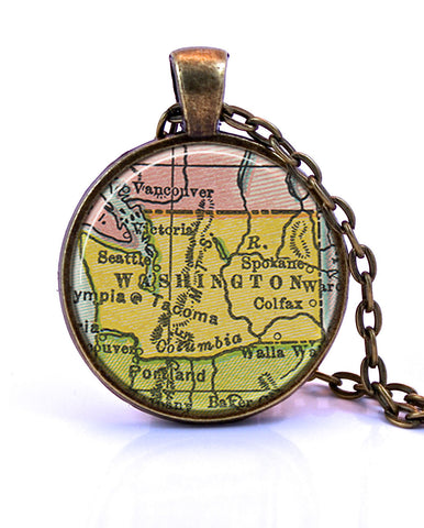 Washington Map Pendant Necklace - created from a 1934 map.-Small Pendant-Paper Towns Vintage