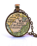 West Virginia Map Pendant Necklace - created from a 1934 map.-Small Pendant-Paper Towns Vintage
