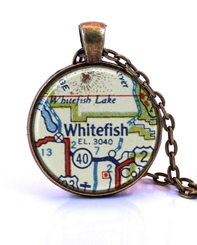 Whitefish, Montana Map Pendant Necklace - created from a 1956 map.-Small Pendant-Paper Towns Vintage