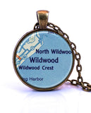 Wildwood, New Jersey Map Pendant Necklace - created from a 1956 map.-Small Pendant-Paper Towns Vintage
