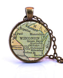 Wisconsin Map Pendant Necklace - created from a 1934 map.-Small Pendant-Paper Towns Vintage