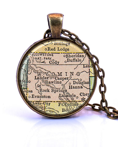 Wyoming Map Pendant Necklace - created from a 1934 map.-Small Pendant-Paper Towns Vintage
