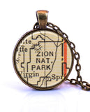 Zion National Park, Utah Map Pendant Necklace - created from a 1937 map.-Small Pendant-Paper Towns Vintage