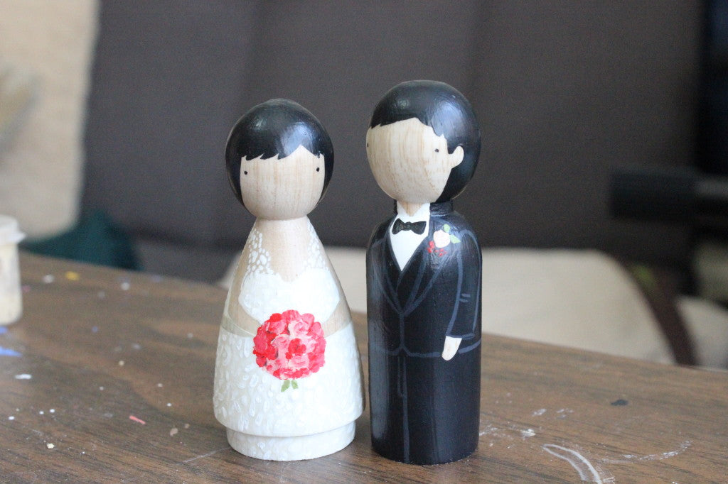 Goose Grease peg dolls with rose bouquet