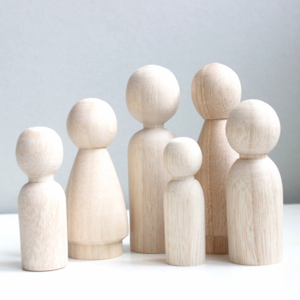 Blank Peg Dolls, Family Set