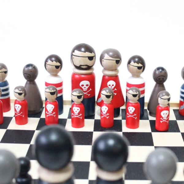 Wooden Chess Set Pirates vs. Ninjas