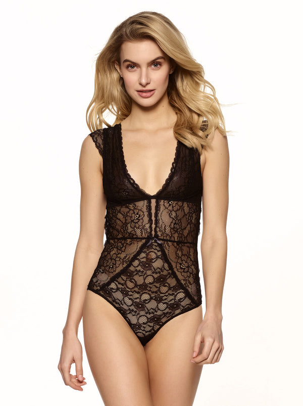 Lindsay Mesh and Lace Bodysuit