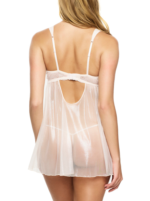 Gillian Mesh & Lace Babydoll w/G-String - Angel Wing