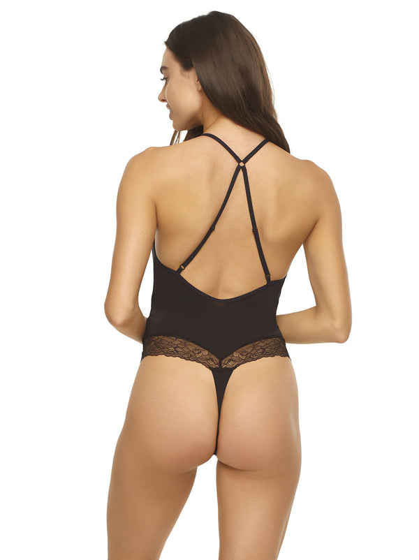 Henny Micro & Lace Bodysuit Thong Back - Black