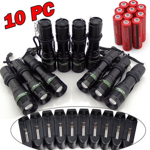 10x2000LM Rechargeable Tactical T6 LED Flashlight Torch+18650 Battery & Charger US Free Shipping - Shoppzee