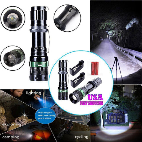 2x2000 Lumen Rechargeable Tactical T6 LED Flashlight Torch+18650 Battery & Charger-Free Shipping - Shoppzee