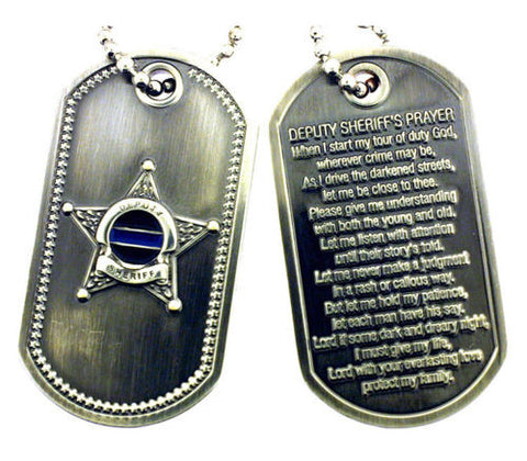 Free Shipping Deputy Sheriff's Prayer Thin Blue Line Brushed Steel Dog Tag