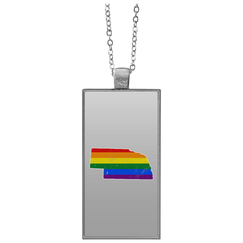 Nebraska Rainbow Flag LGBT Community Pride LGBT Shirts  UN4682 Rectangle Necklace