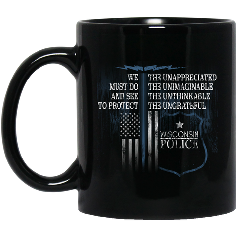 Wisconsin Police Support Law Enforcement Gear Police Tshirt  BM11OZ 11 oz. Black Mug