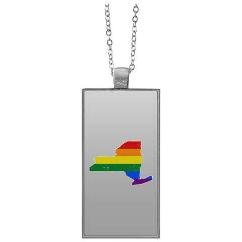 New York Rainbow Flag LGBT Community Pride LGBT Shirts  UN4682 Rectangle Necklace