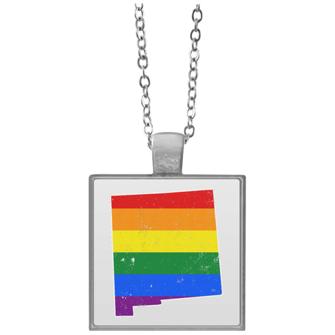 New Mexico Rainbow Flag LGBT Community Pride LGBT Shirts  UN4684 Square Necklace