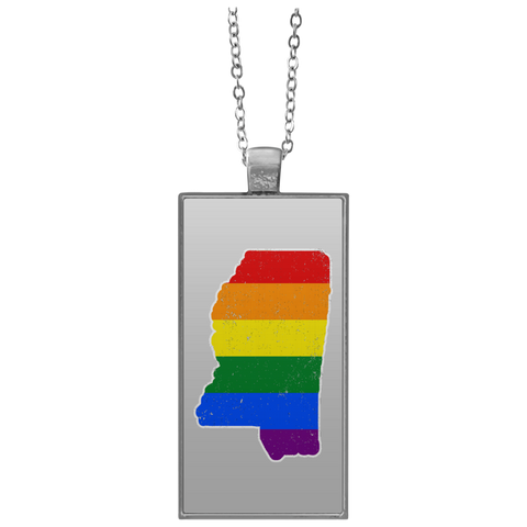 Mississippi Rainbow Flag LGBT Community Pride LGBT Shirts  UN4682 Rectangle Necklace