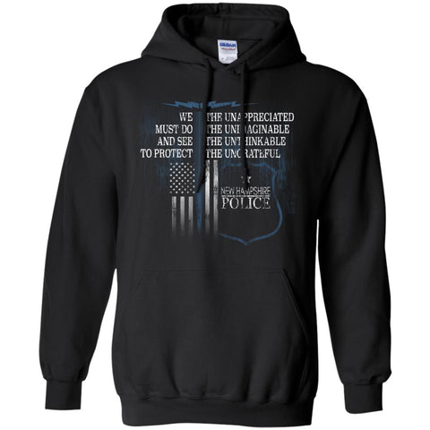 New Hampshire Police Law Enforcement Support Unappreciated  G185 Gildan Pullover Hoodie 8 oz.