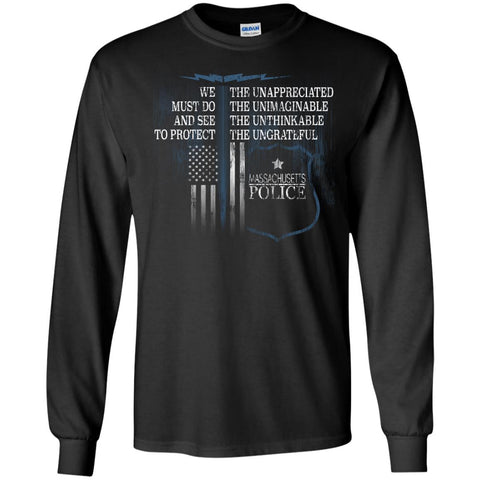 Massachusetts Police Shirt Police Retirement Gifts Police Prayer  G240 Gildan LS Ultra Cotton T-Shirt
