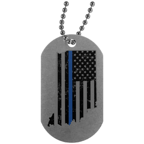 Indiana State Police Shirt Thin Blue Line Flag Shirt  UN4004 Silver Dog Tag