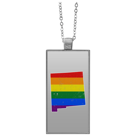 New Mexico Rainbow Flag LGBT Community Pride LGBT Shirts  UN4682 Rectangle Necklace