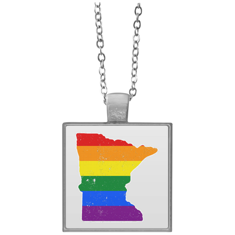 Minnesota Rainbow Flag LGBT Community Pride LGBT Shirts  UN4684 Square Necklace