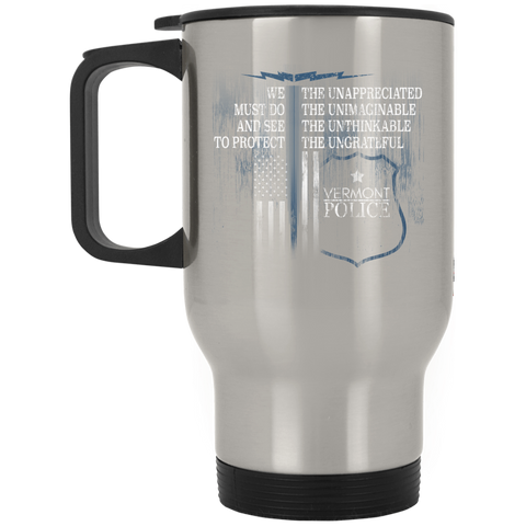 Vermont Police Support Law Enforcement Gear Police Tshirt  XP8400S Silver Stainless Travel Mug