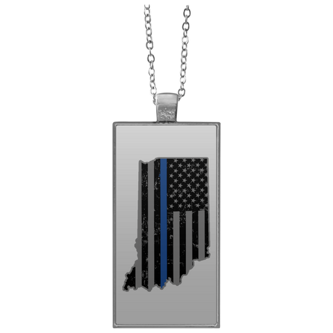Indiana State Police Shirt Thin Blue Line Flag Shirt  UN4682 Rectangle Necklace