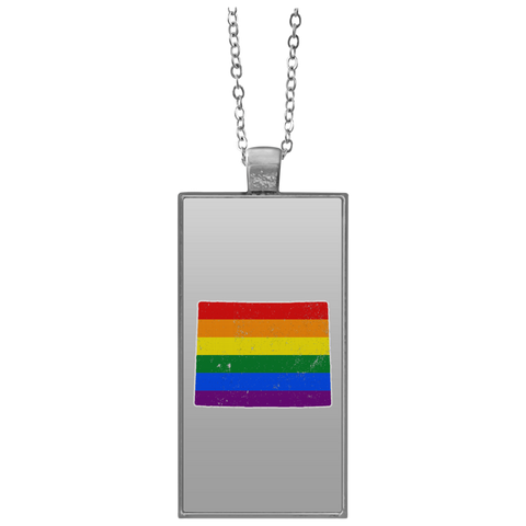 Wyoming Rainbow Flag LGBT Community Pride LGBT Shirts  UN4682 Rectangle Necklace