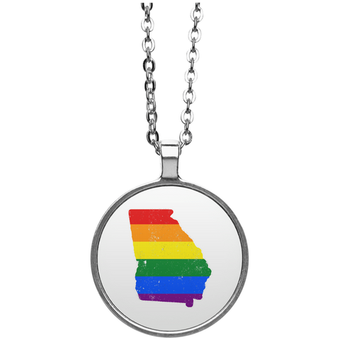 Georgia Rainbow Flag LGBT Community Pride LGBT Shirts  UN4686 Circle Necklace