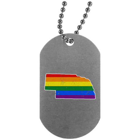 Nebraska Rainbow Flag LGBT Community Pride LGBT Shirts  UN4004 Silver Dog Tag