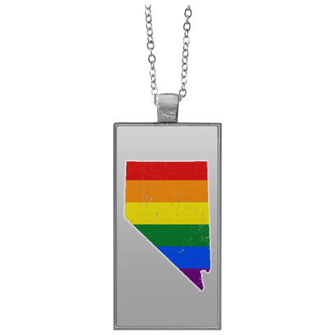 Nevada Rainbow Flag LGBT Community Pride LGBT Shirts  UN4682 Rectangle Necklace