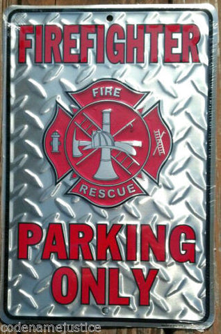 Firefighter Parking Only Silver Diamond Plated Design - Free Shipping