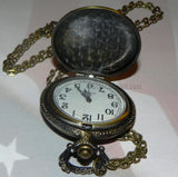 Firefighter Pocket Watch - Ornate Antique Bronze Hue with Chain & Giftbox-Free Shipping