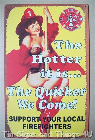 Firefighter PinUp Tin Sign PinUp Girl