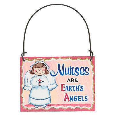 Mini Sign Nurses Earth's Angels - Free Shipping