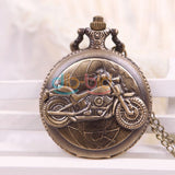 Bronze Motorcycle Quartz Pocket Watch-Free Shipping - Shoppzee