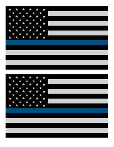 "(PAIR) THIN BLUE LINE 4"" Subdued Flag DECALS STICKER Support Police -Free Shipping - Shoppzee"