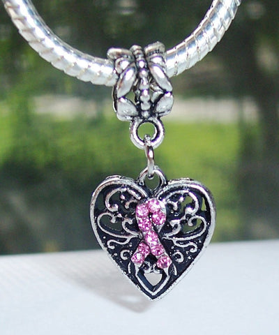 Pink Ribbon Heart Dangle Bead for Silver Charm Bracelet  - FREE SHIPPING