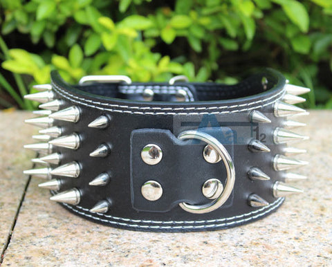 FREE SHIPPING - Black Spiked Studded Pet Dog PitBull Mastiff Leather Buckle Neck Strap Collar