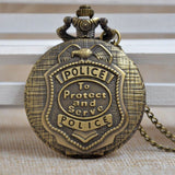 Bronze Retro Police Quartz Pocket Watch-Free Shipping - Shoppzee