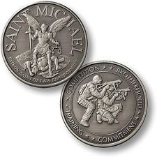 St Michael / SWAT Challenge Coin Nickel Patron Saint Police Sniper Policeman-Free Shipping