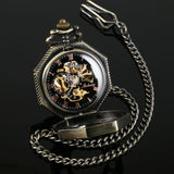 Vintage Steampunk Retro Bronze Roman Sketelon Mens Mechanical Pocket Watch + Box-Free Shipping - Shoppzee