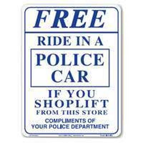 Two Free Ride In A Cop Car Signs - Free Shipping - Shoppzee