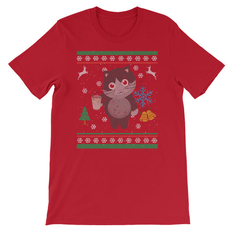 Ugly Christmas Sweater Design.Eggnog Kitty Cat Ugly Christmas Sweater Design Cat Lover