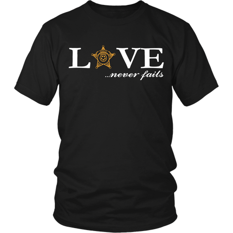 Deputy Sheriff Love Never Fails Valentines T Shirt - Shoppzee