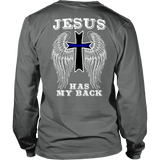 Police Thin Blue Line Cross Jesus Guardian Angel Shirt