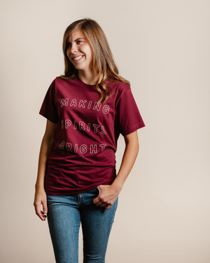 Making Spirits Bright Tee - cranberry