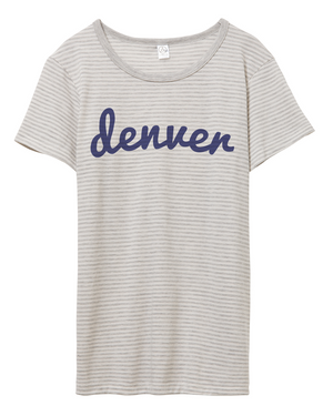 Denver Striped Tee | Light Grey